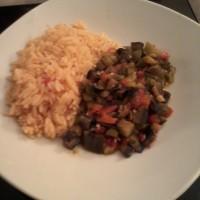 arroz colorado con ratatouille