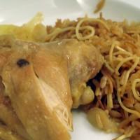 pollo braseado con arroz con filikas