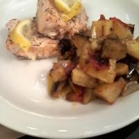 salmon al tomillo y limón con verduras asadas