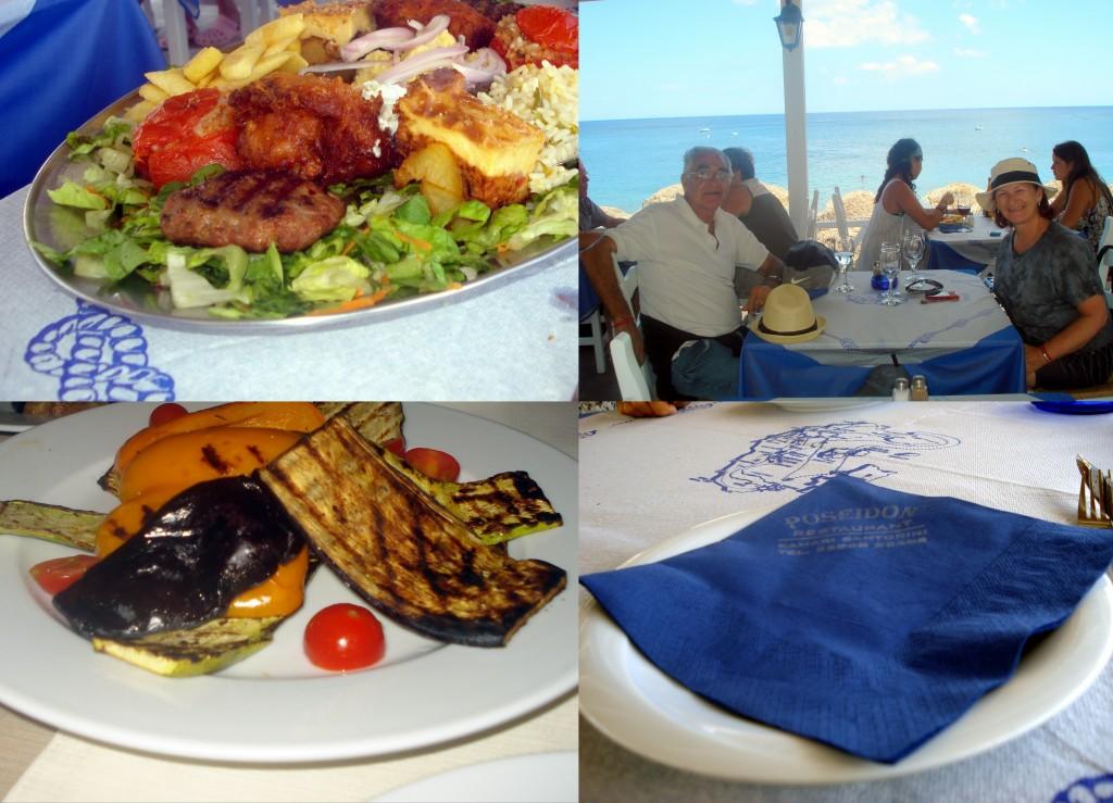 kamari mixto griego y verduras grilladas